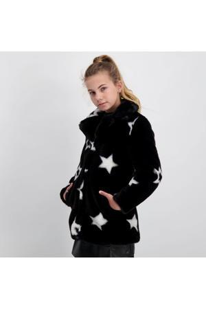 imitatiebont winterjas Zidah met sterren zwart/wit