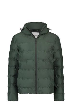 winterjas met camouflageprint groen
