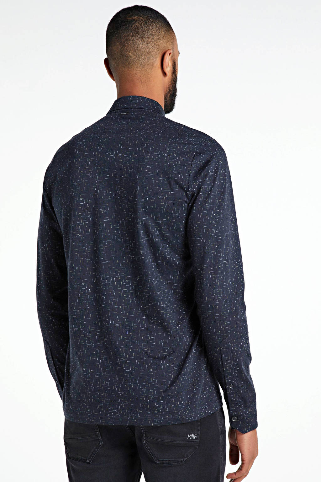 Vanguard slim fit polo met all over print donkerblauw, Donkerblauw
