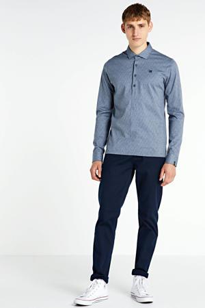 regular fit polo met all over print grijsblauw