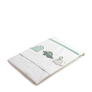 baby wieglaken dinoprint  75x100 cm wit/groen