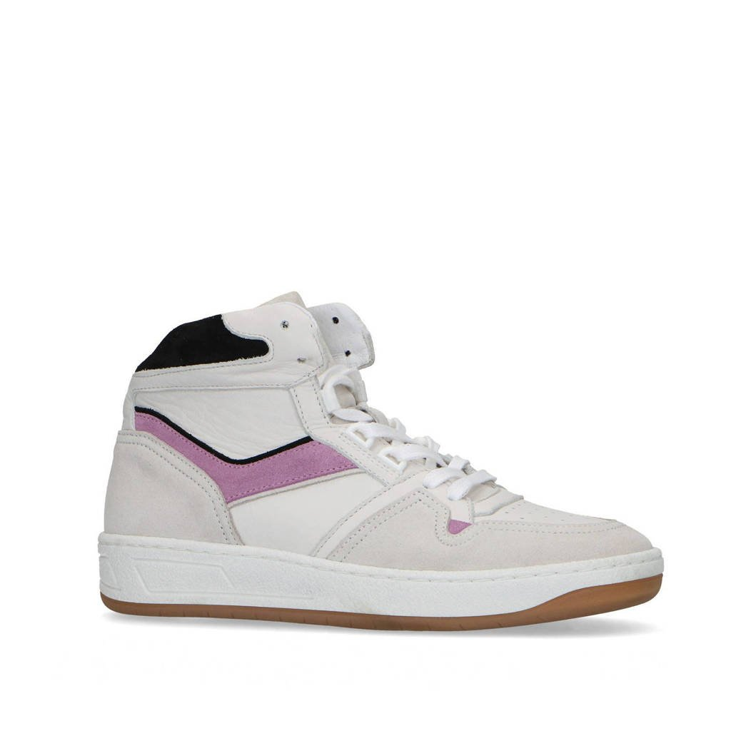 Sacha   hoge leren sneakers off white/lila, Off white/Lila