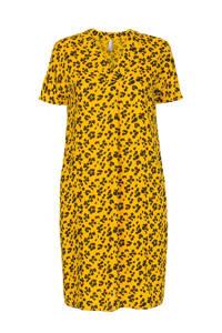 Miss Etam Regulier jurk met dierenprint en plooien geel/antraciet, Geel/antraciet