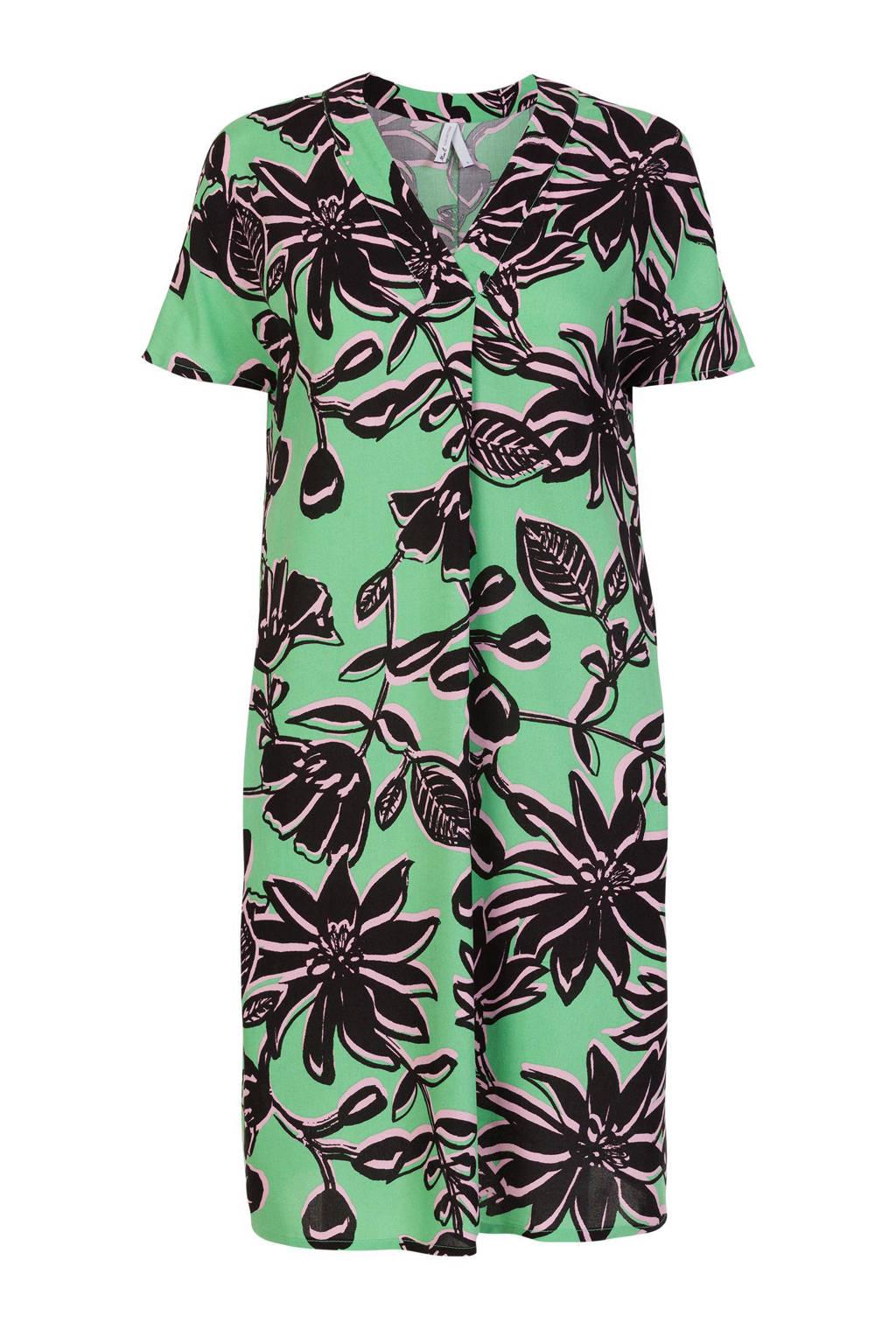 Miss Etam Regulier jurk met bladprint en plooien groen/zwart/lichtroze, Groen/zwart/lichtroze