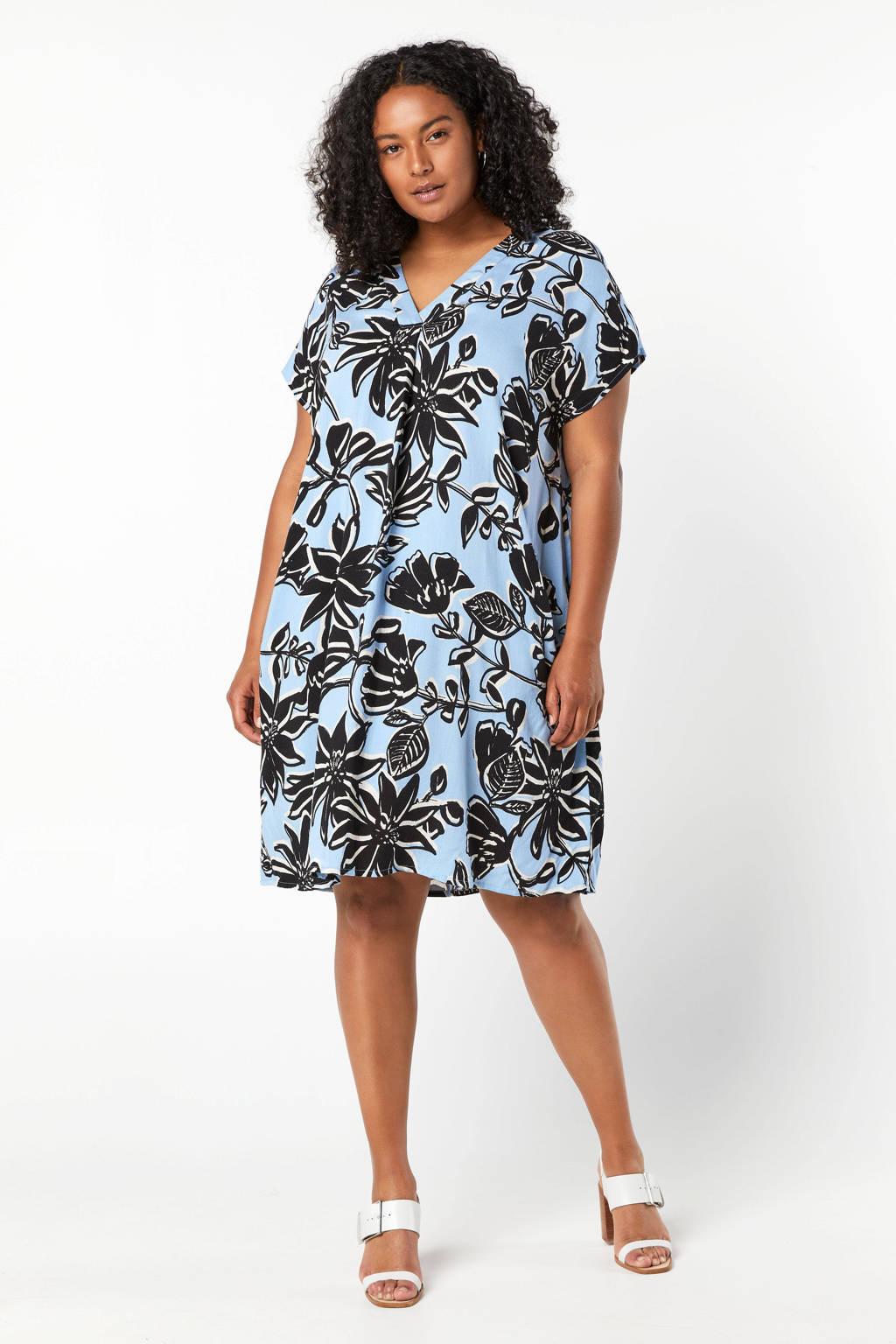 Miss Etam Plus blousejurk met bladprint lichtblauw/zwart, Lichtblauw/zwart