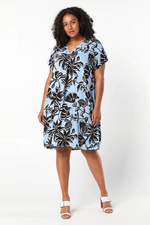 blousejurk met bladprint lichtblauw/zwart