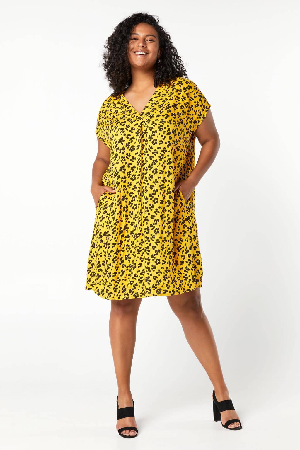 Miss Etam Plus blousejurk met panterprint geel/zwart, Geel/zwart