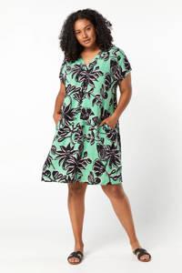 Miss Etam Plus blousejurk met bladprint groen/zwart/wit, Groen/zwart/wit