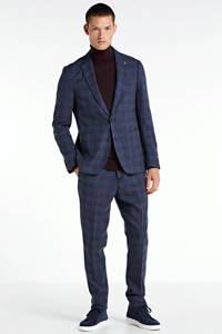 Vanguard geruite slim fit pantalon blauw, Blauw