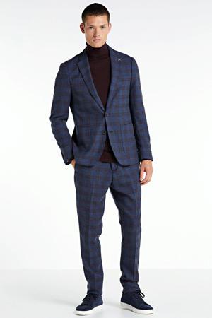 geruite slim fit pantalon blauw