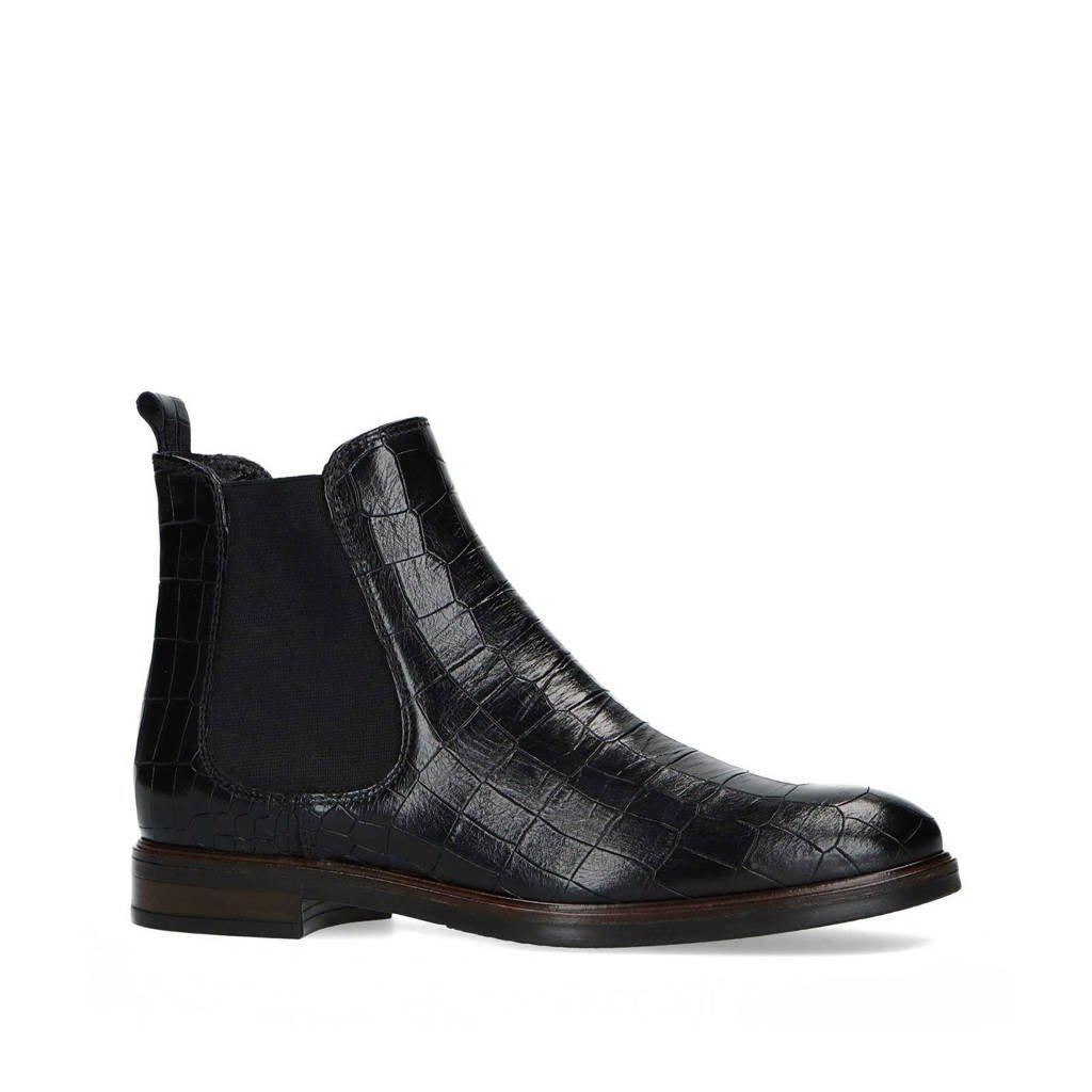 Manfield   leren chelsea boots crocoprint zwart, Zwart
