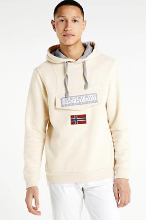 hoodie met logo ecru