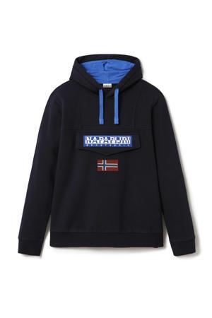 hoodie met logo donkerblauw/blauw