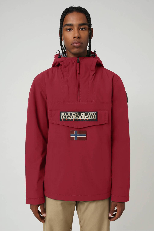 Napapijri anorak/winterjas Rainforest winter 2 met logo donkerrood, Donkerrood