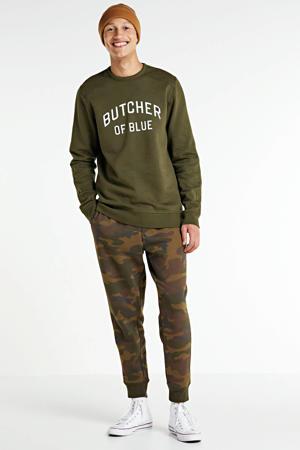 sweater met logo olijfgroen