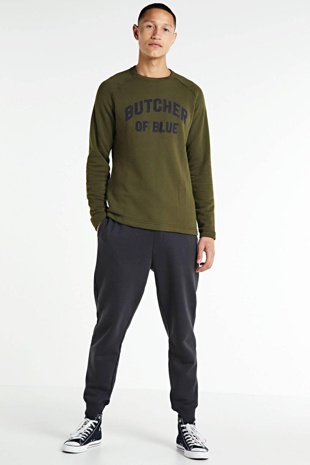 Butcher of Blue sweater met logo olijfgroen, Olijfgroen