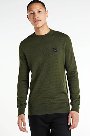 fijngebreide trui met wol donkergroen