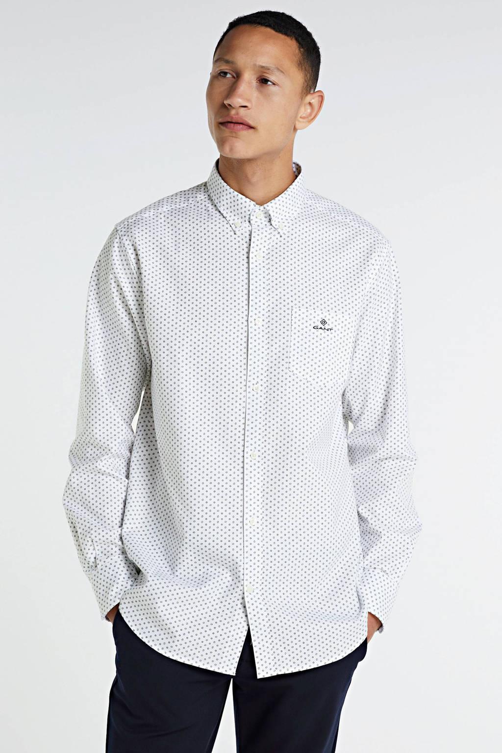 GANT regular fit overhemd met all over print wit, Wit