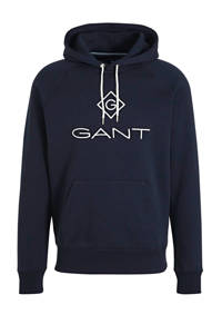 GANT hoodie met logo donkerblauw, Donkerblauw