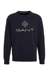 GANT sweater met logo donkerblauw, Donkerblauw