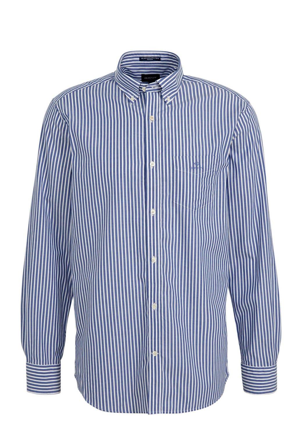 GANT gestreept regular fit overhemd blauw, Blauw