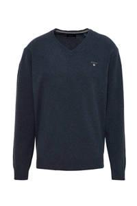 GANT fijngebreide lamswollen trui donkerblauw melange, Donkerblauw melange