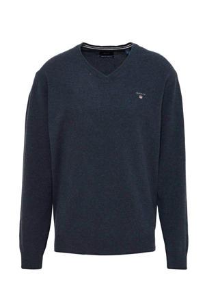 fijngebreide lamswollen trui donkerblauw melange