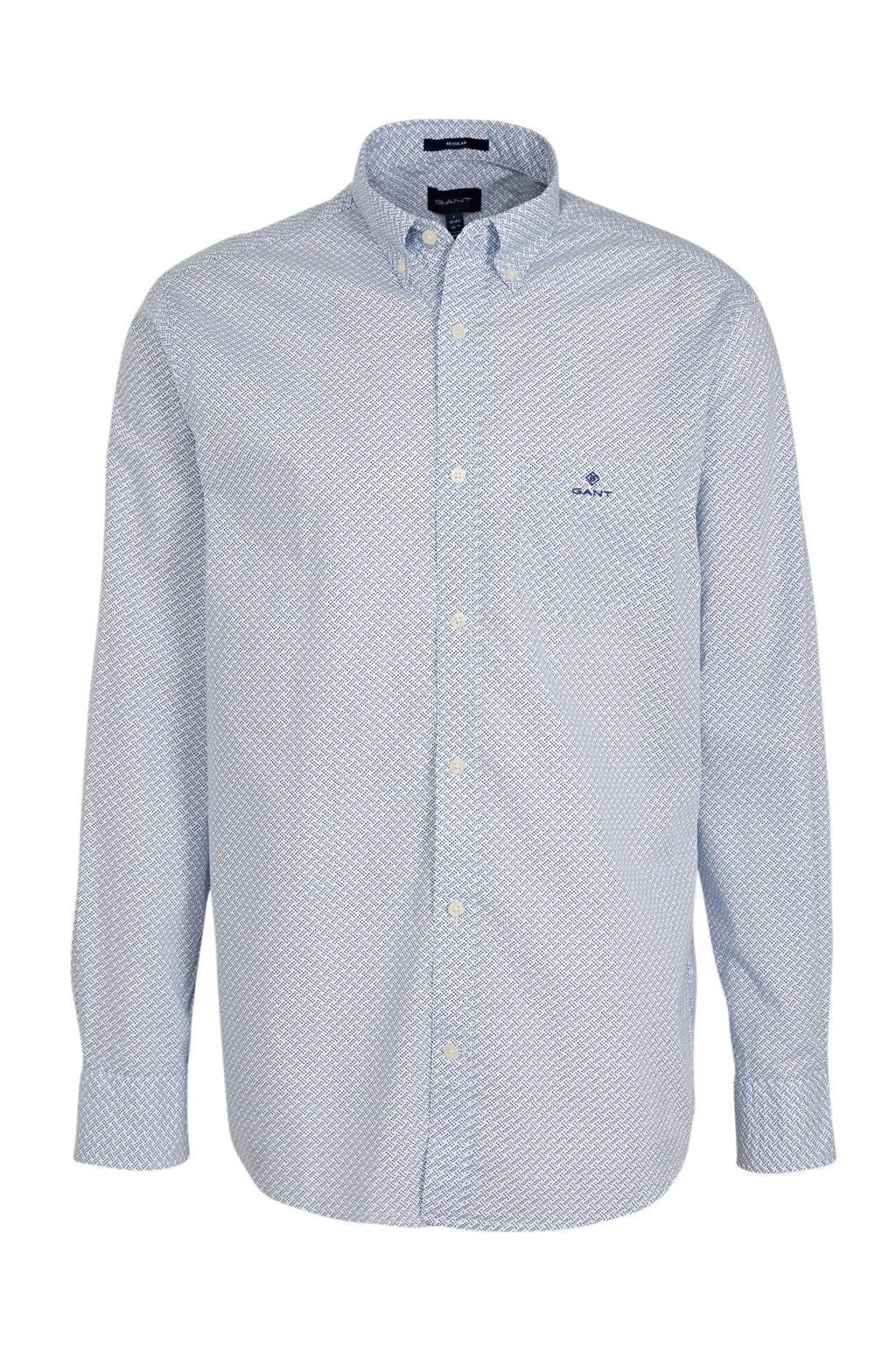 GANT regular fit overhemd met all over print blauw/wit, Blauw/wit