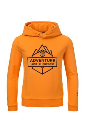 hoodie Stefan met printopdruk oranjegeel