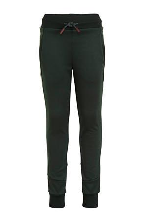 slim fit joggingbroek Bobby met zijstreep groen/donkerblauw