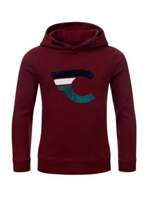 hoodie Finn met logo donkerrood