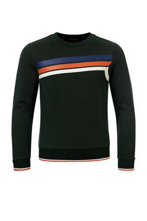 sweater Collin met printopdruk donkergroen