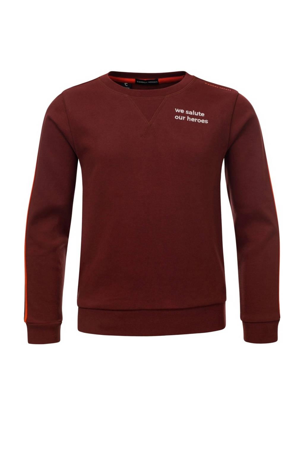 COMMON HEROES sweater Cas met contrastbies roestbruin, Roestbruin