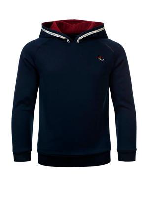 hoodie Simon met contrastbies donkerblauw