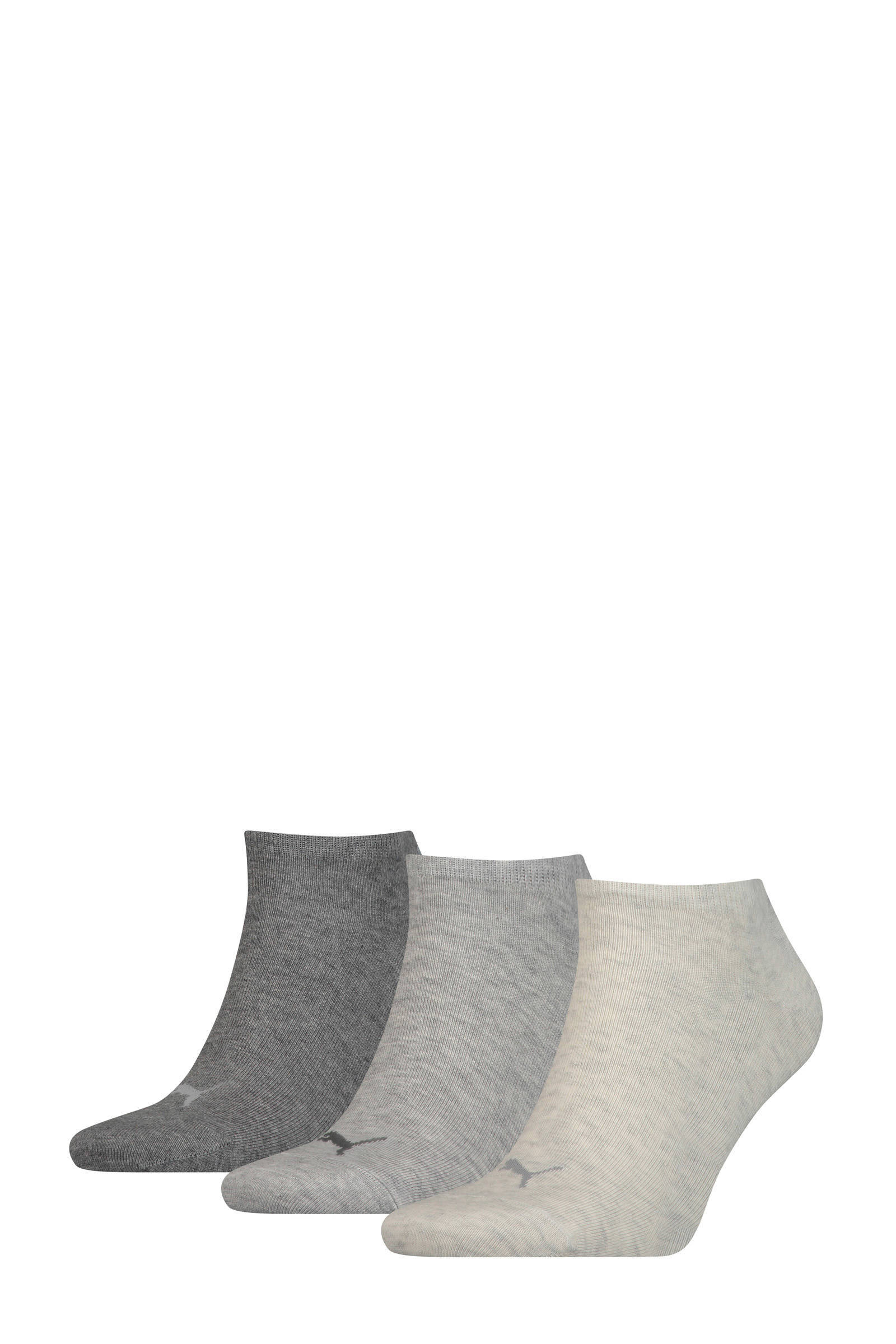 sneakersokken Plain set van 3 paar grijs
