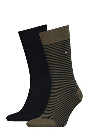 sokken Small Stripe set van twee paar olijfgroen