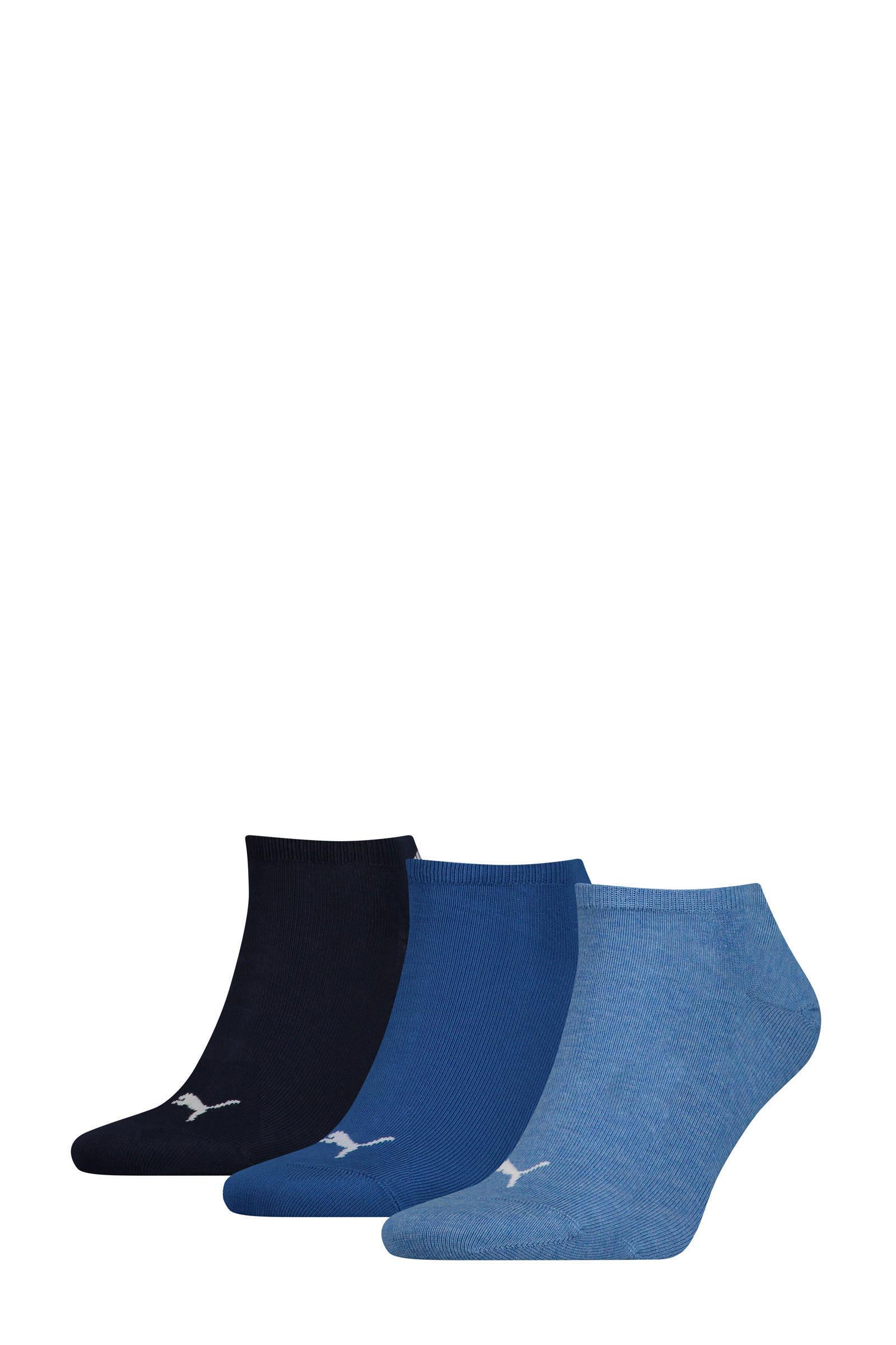sneakersokken Plain set van 3 paar blauw
