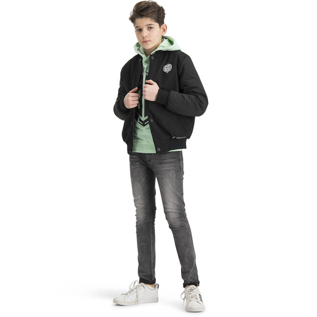 Vingino Daley Blind hoodie Nais met logo mintgroen/zwart, Mintgroen/zwart