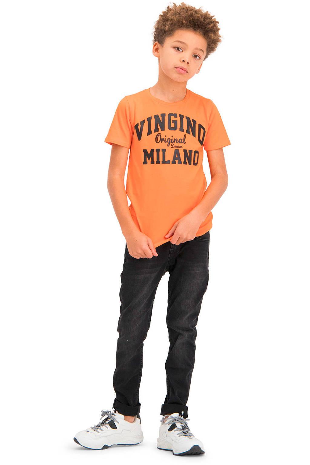 Vingino Essentials T-shirt met logo met biologisch katoen oranje/zwart, Oranje/zwart