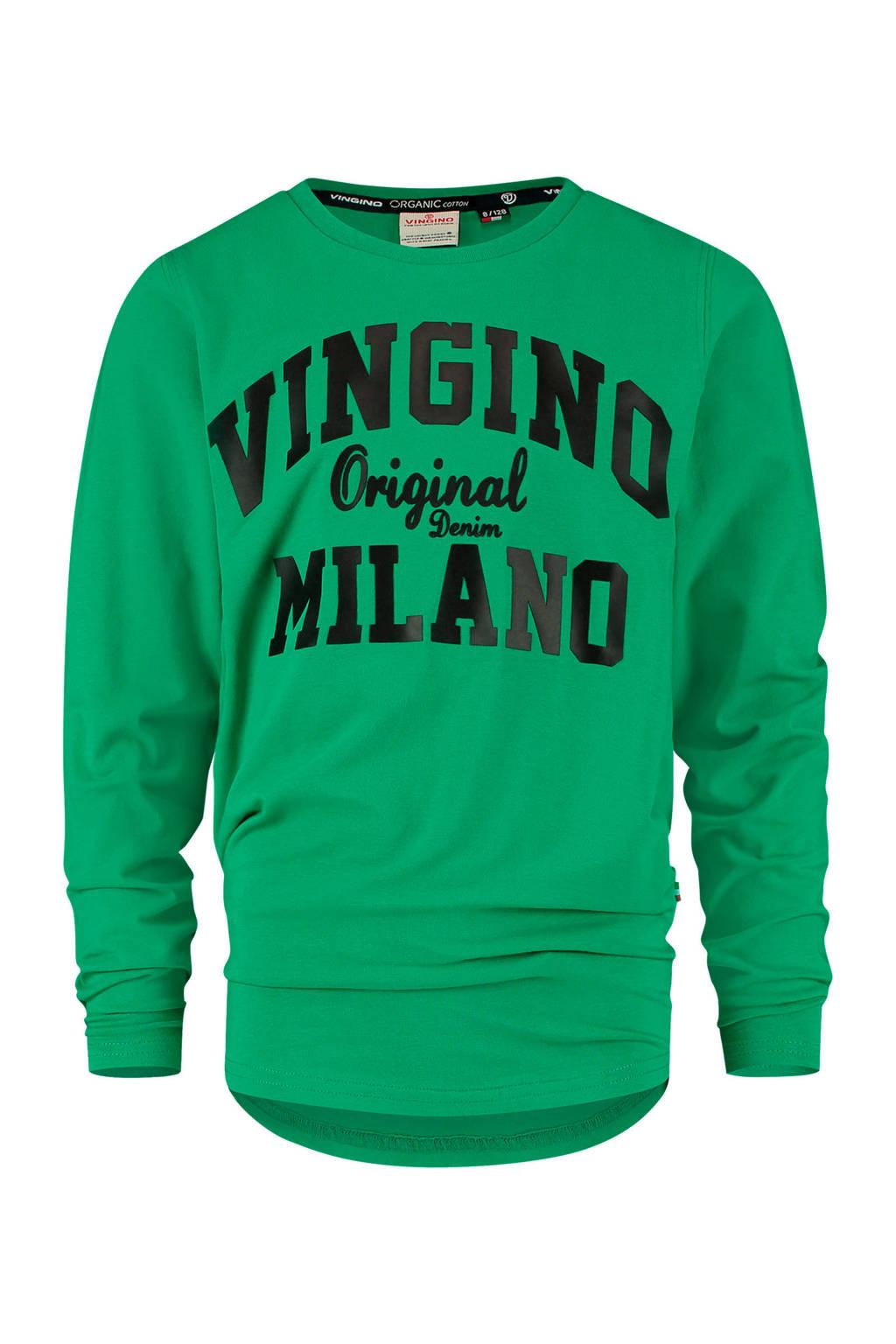 Vingino Essentials longsleeve met logo groen/zwart, Groen/zwart