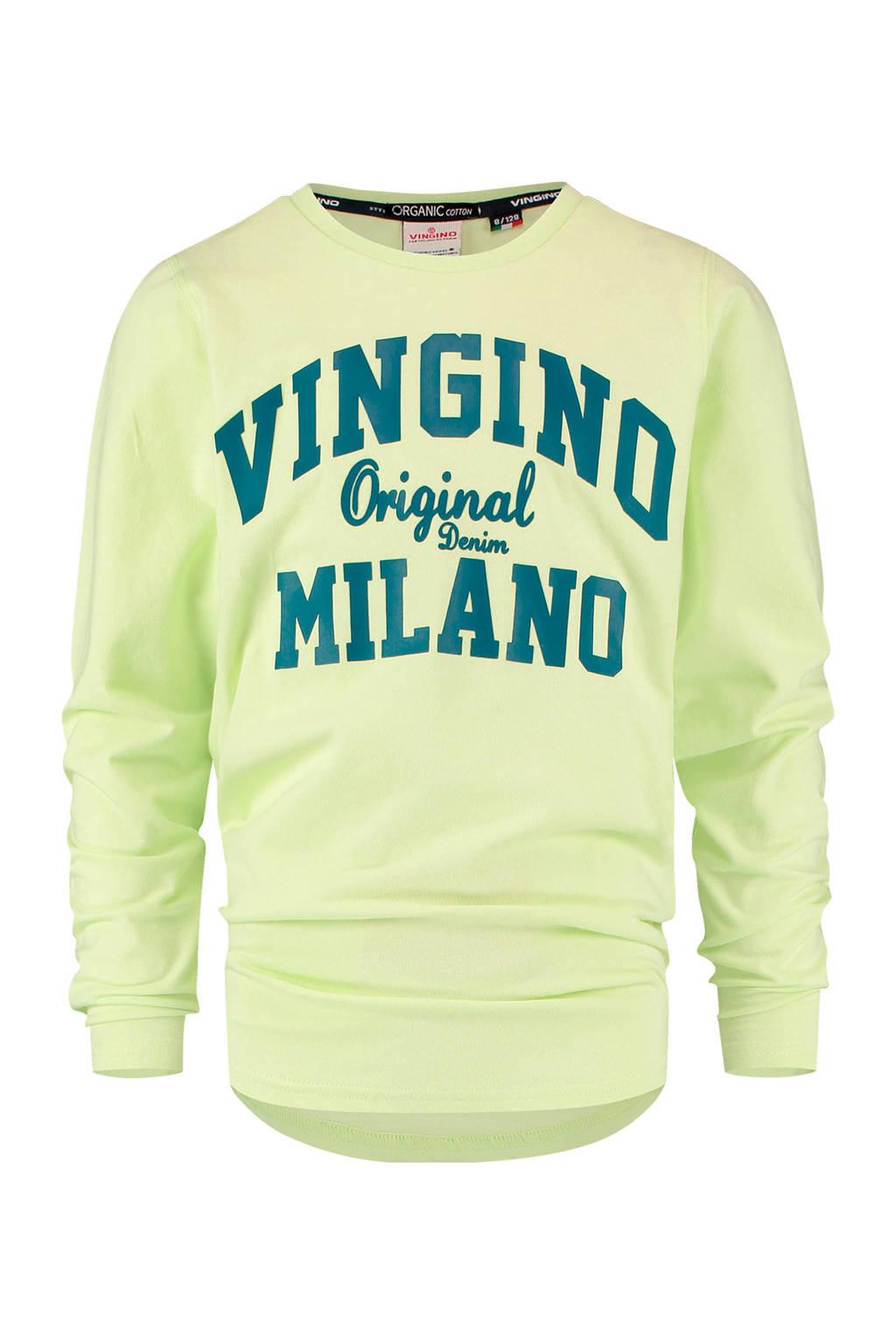Vingino Essentials longsleeve met logo lichtgeel/blauw, Lichtgeel/blauw