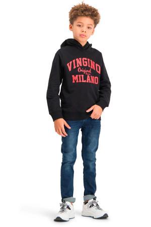 hoodie met logo zwart/rood