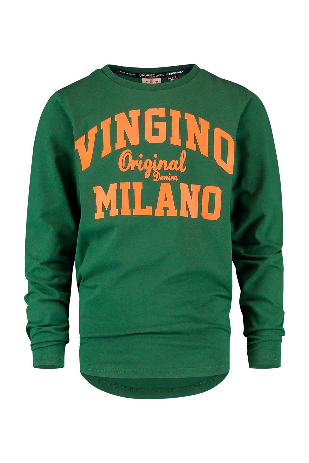 Vingino Essentials longsleeve T-shirt met logo donkergroen/oranje, Donkergroen/oranje