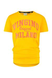 Vingino Essentials T-shirt met logo met biologisch katoen goudgeel/oranje, Goudgeel/oranje
