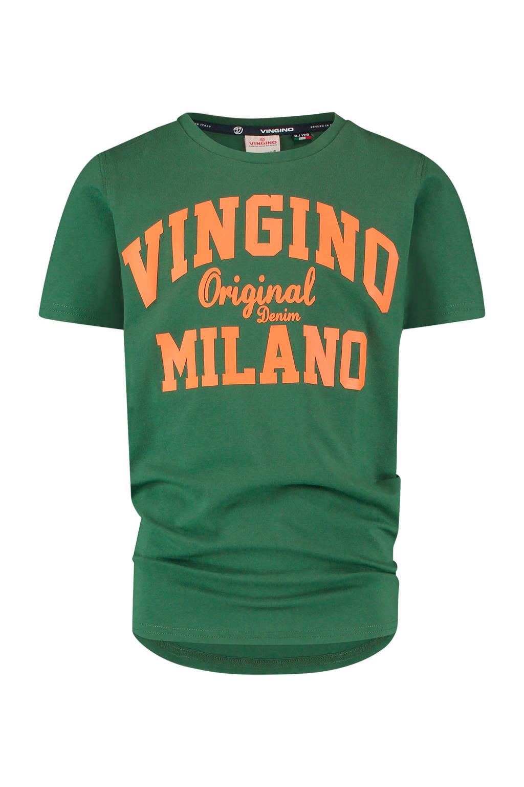 Vingino Essentials T-shirt met logo met biologisch katoen donkergroen/oranje, Donkergroen/oranje