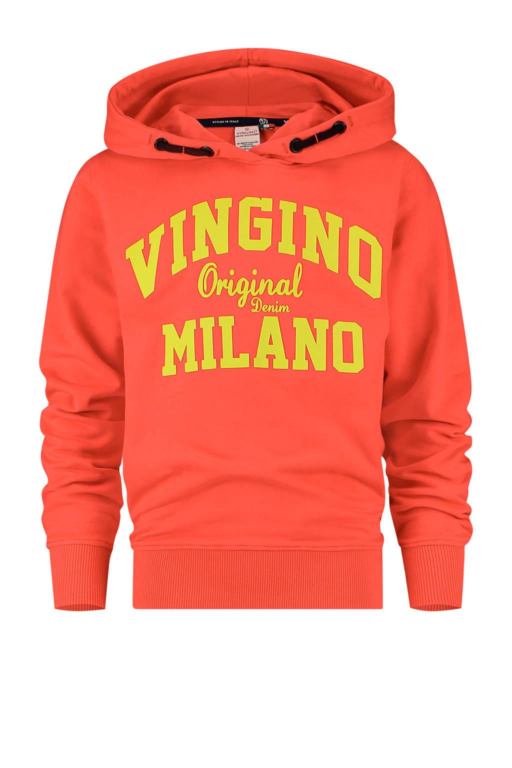 Vingino Essentials hoodie met logo felrood/geel, Felrood/geel
