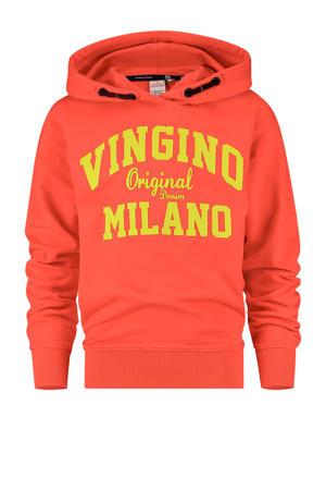 hoodie met logo felrood/geel