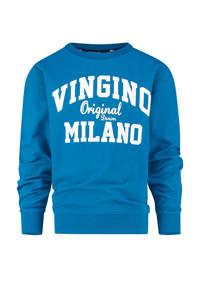 Vingino Essentials sweater met logo blauw/wit, Blauw/wit