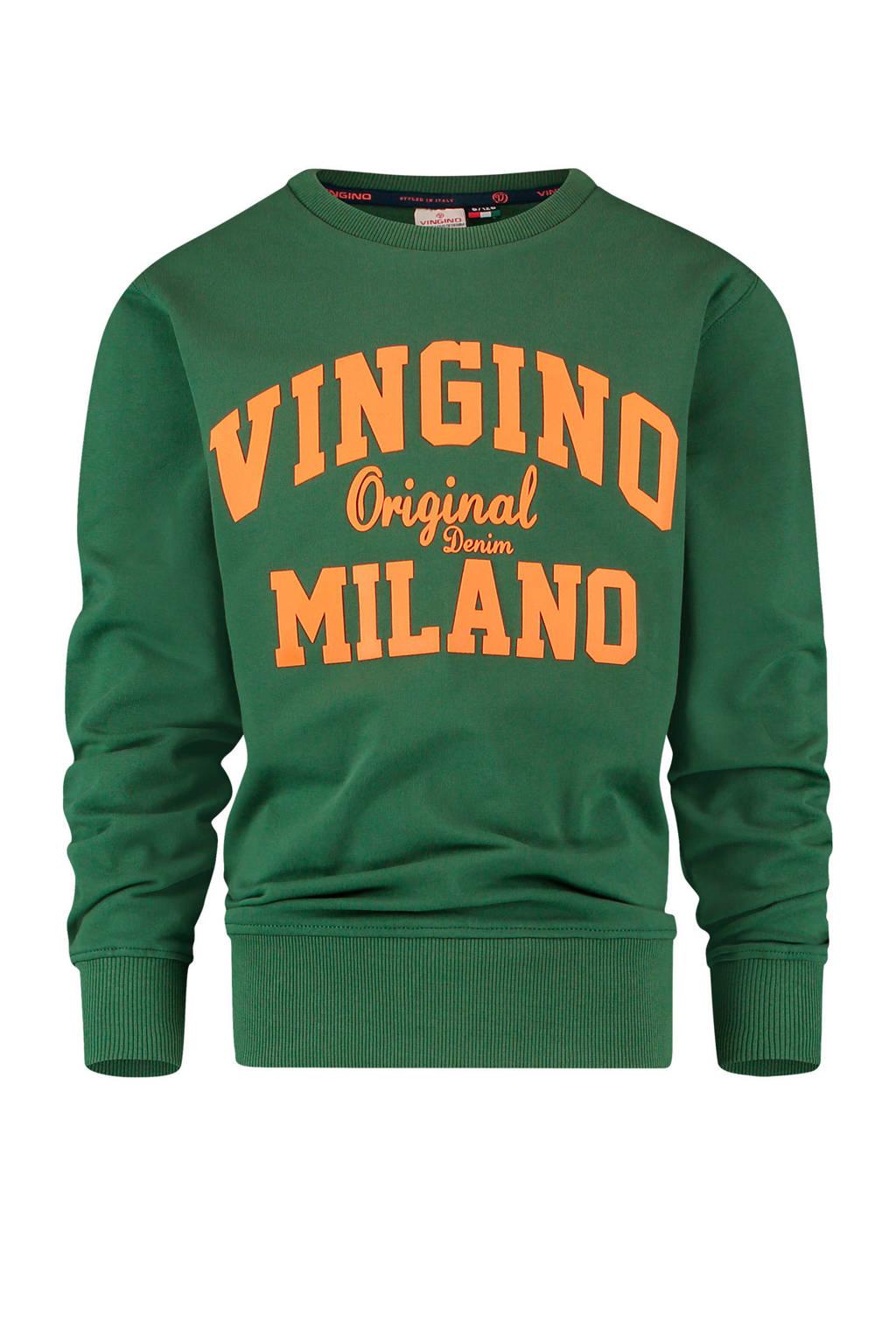 Vingino Essentials sweater met logo donkergroen/oranje, Donkergroen/oranje