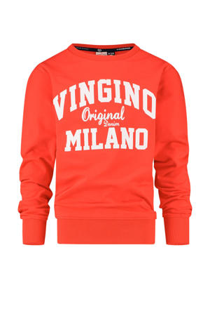 sweater met logo felrood/wit